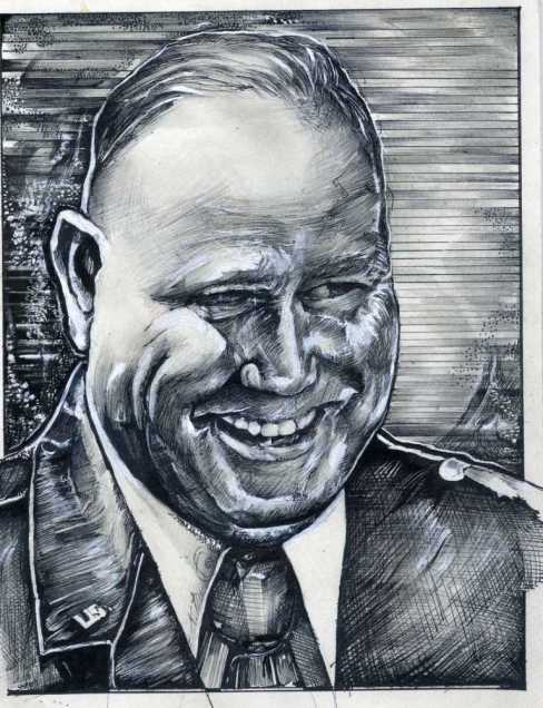 From the artist, Katherine Trunk:  &quot;I greatly admired Gen. Schwarzkopf. Around the time of Operation Desert Storm, I created this portrait of the General which I regularly exhibit.&quot;