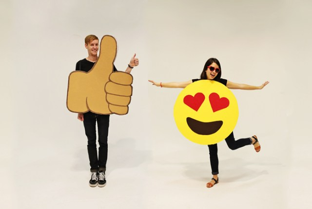 Show off your DIY skills for Halloween with these DIY Emoticon Costumes | Brewedtogether.com