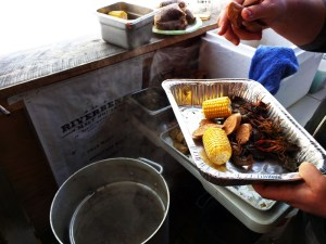 The crayfish were still moving.  The corn was fresh.  The andouille smelled potent.
