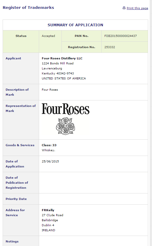Four Roses Whiskey Ireland Trade Mark