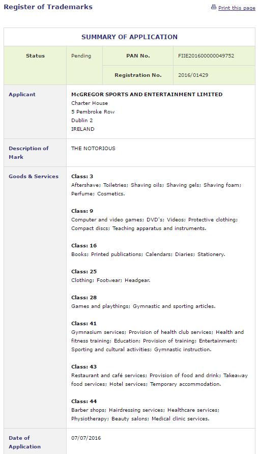 McGregor Trademark Details - Goods and services