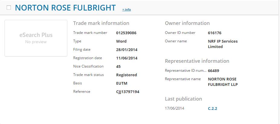 Norton Rose Fulbright EUTM Details