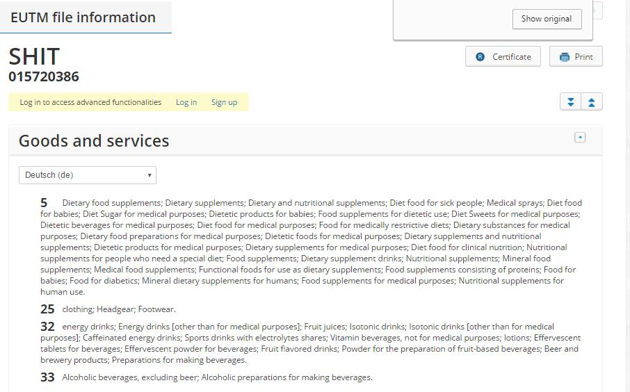Shit Trademark Application