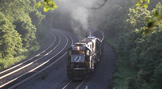 DAILY POST: Trains Meet on a Summer Morning at Cassandra, Pennsylvania.