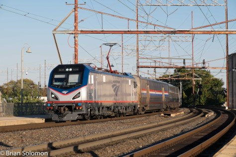 A new Siemens ACS-64 leads Amtrak 97 Silver Meteor at Wilmington, Delaware on October 15, 2015. Exposed with my FujiFilm X-1.
