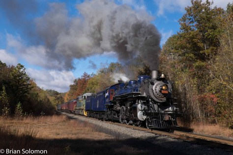 Reading & Northern 4-6-2 425 makes an impressive scene near Haucks, Pennsylvania on October 17, 2015.  This was part of the old Central Railroad of New Jersey route on the line toward Jim Thorpe, PA.