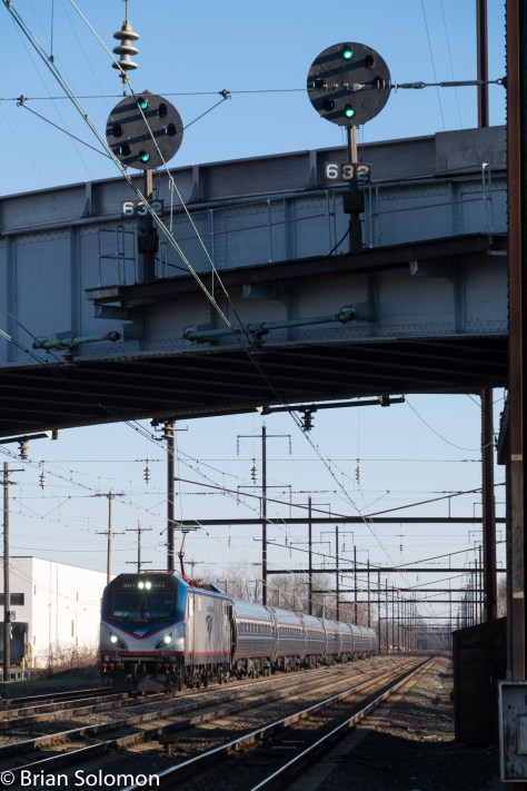 Amtrak ACS-64 number 651 leads train 153 at Levittown, Pennsylvania. FujiFilm X-T1 photo.