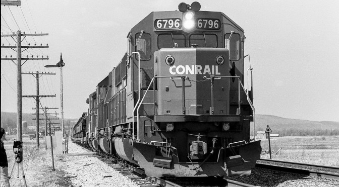 Conrail at 10 mph; Arkport, New York on the old Erie Railroad.