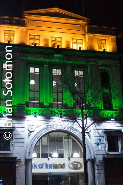 Irish Tri-Colour superimposed on the Bank of Ireland.
