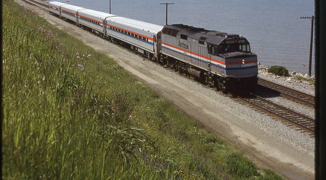 Amtrak on the Shore of San Pablo Bay at Pinole on this day 23 years ago.