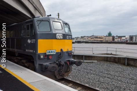 Another change of engine at Waterford. Here 077 took over from 076. A view across the Suir toward the old Viking town.