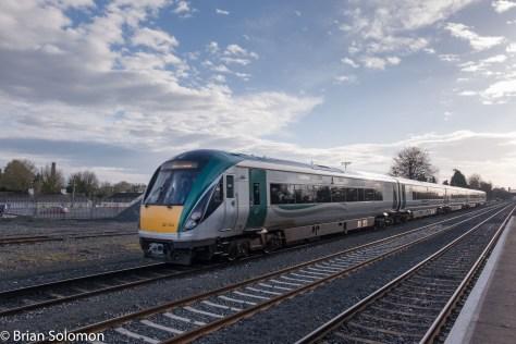 Irish Rail Intercity Railcars work downroad (away from Dublin) at Kildare.