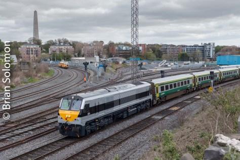 Irish Rail 231 on the 11am to Cork at Islandbridge Junction at 1103 on Wednesday 4 May 2016.