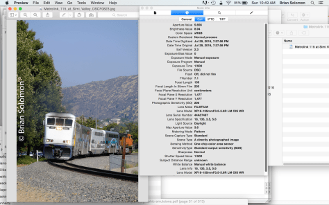 Here's the Jpg of the train along site the camera's EXIF data. The relevant fields show that the camera was set at  ISO 200; shutter speed 1/500th of a second, and the lens was at f7.1.  So why not f8? That would cause the trees to become too dark and the engine appear more gray than white.