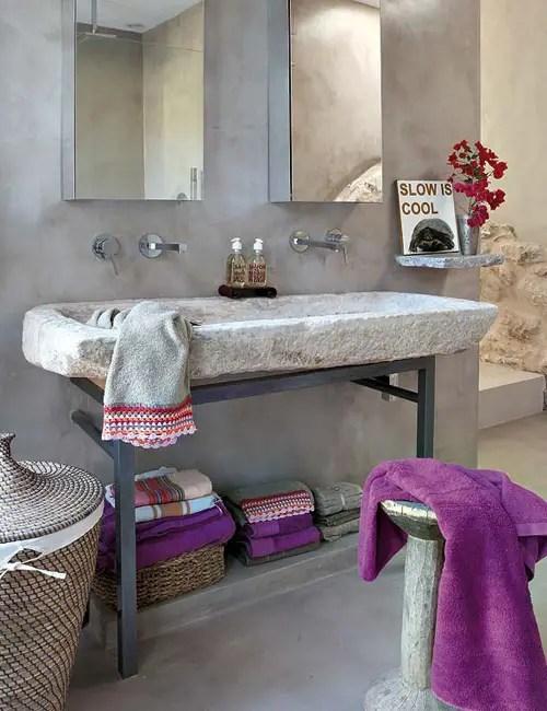 Salle de bain violet et gris Choisir la couleur de la salle de bain   21 Idées de couleurs