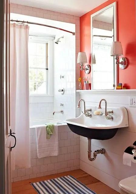 jolie salle de bain rouge Choisir la couleur de la salle de bain   21 Idées de couleurs