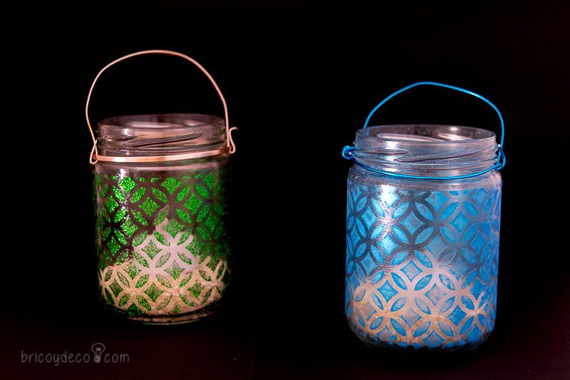 portavelas reciclados con stencil y pigmentos