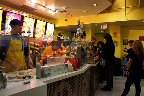 A look inside the new Wetzel's Pretzels now open at the 7th/Metro subway station near 7th and Hope Street