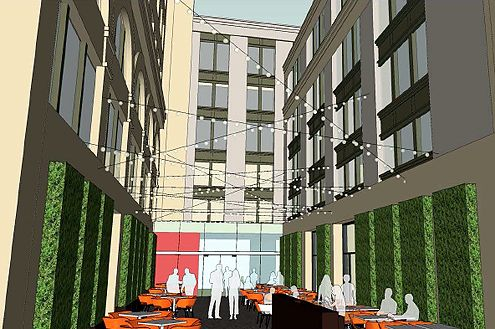 "Another rendering shows what the new courtyard may look like depending on the condition of the facades when they are exposed after removing the current ""Verizon building"" (Photo: Rising Realty Partners)"