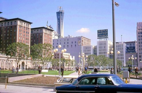 One of the first redesign options for Pershing Square is to get rid of the walls and return it to its original form, an example seen here in 1965 (Photo: LAPL)