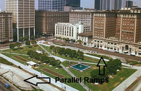 Parallel ramps take up the majority of access points into Pershing Square