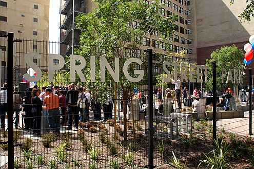 Downtown LA's newest urban park, Spring Street Park, officially opened today at 10AM with a community gathering