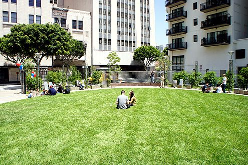A sprawling oval lawn is the main focal point of the Spring Street Park