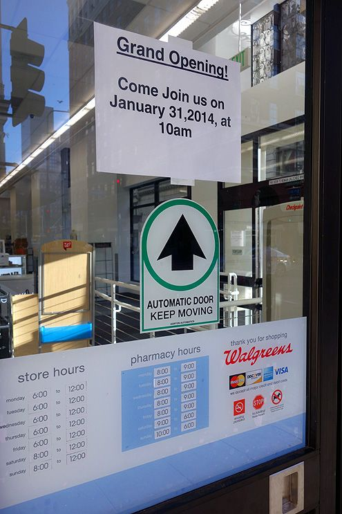 Signs went up this week announcing the grand opening for Jan 31, 2014 at 10 am