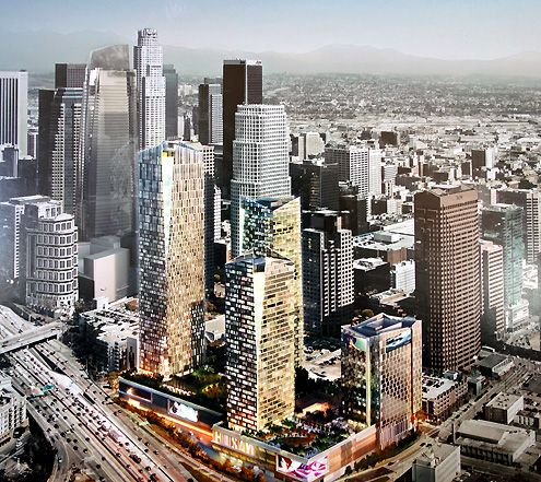 A rendering of Metropolis with four towers (notice the under construction Wilshire Grand Tower is also included on the left)