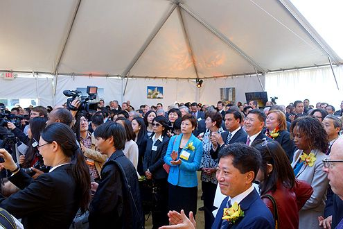 Hundreds gather on Feb 14, 2014 to attend the ceremonial ground breaking of Metropolis in Downtown LA