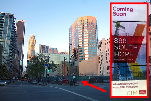 "A new 33-story tower by CIM Group is set to rise at the corner of 9th/Hope in South Park called ""888 South Hope"""