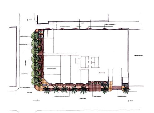A look at the potential improvements to the sidewalks along the project's perimeter (Photo: Chris Dikeakos Architects)