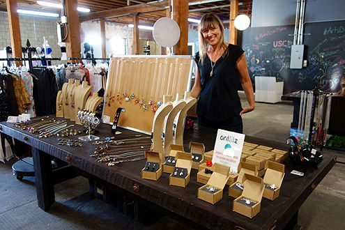 Local Arts District resident Sam Dee showcases her handmade jewelry collection