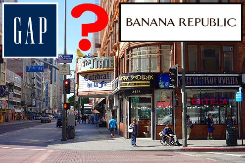 Gap, Banana Republic, and other large retailers are now rumored to be searching for space in Downtown LA along either Broadway or 7th Street