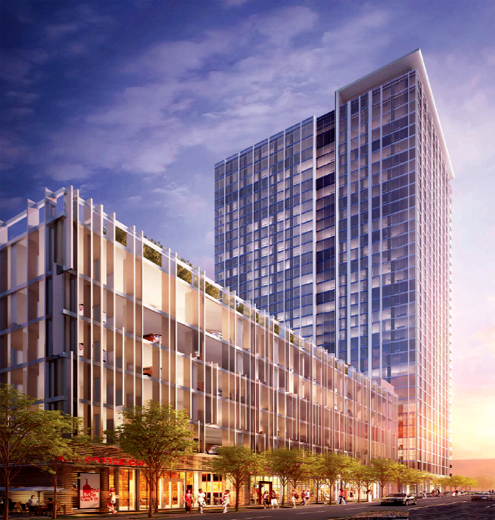 New renderings of the new 888 S Hope tower rising in South Park show lots of retail that will help activate this stretch of Hope Street in Downtown LA (Photo: RTKL)