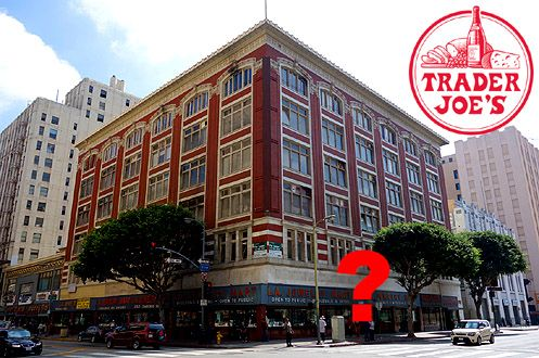 "According to multiple credible sources, Trader Joe's is currently interested in the 7th/Olive ""LA Jewelry Mart"" building"