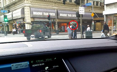 A tipster spotted billionaire developer Rick Caruso and snapped a pic of him across the street from the Broadway Trade Center