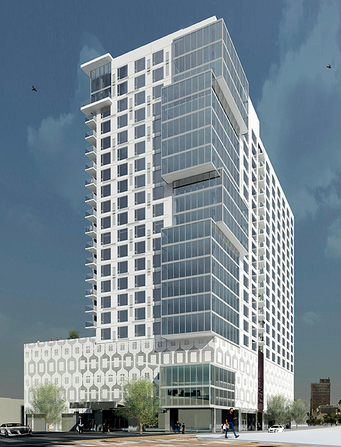 Trumark Urban broke ground in mid-March on a new 22-story condo tower named Ten50 in the burgeoning South Park district of Downtown LA (Photo: Trumark Urban)