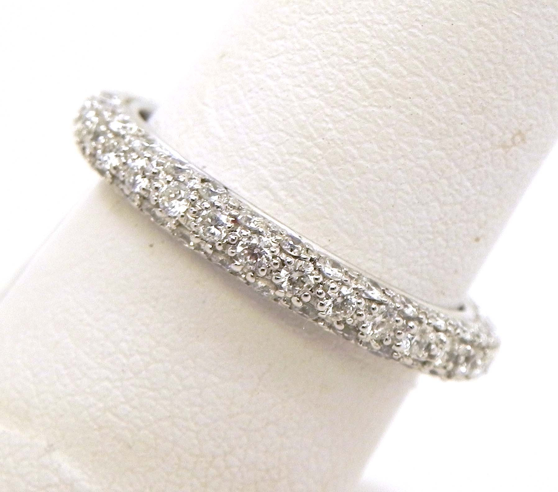 ladies 18k white gold 3 row diamonds eternity wedding band white gold wedding bands White Gold 3 Row Diamonds Eternity Wedding Band 00 Previous Next