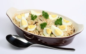 Kedgeree rice with eggs and parsley horizontal