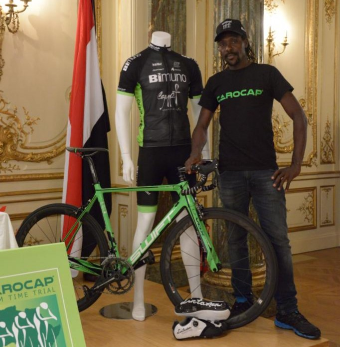 David Kinjah at the London launch of the  CAROCAP Team Time Trial Cycling Project