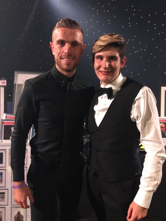 Our special reporter Gemma Newson with Jordan Henderson, Liverpool captain