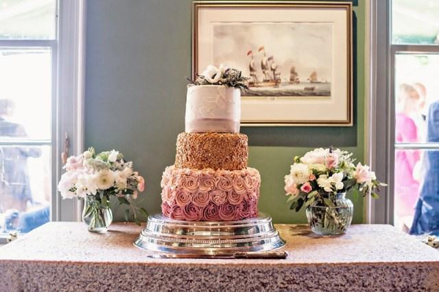 gold white and blush pink wedding cake