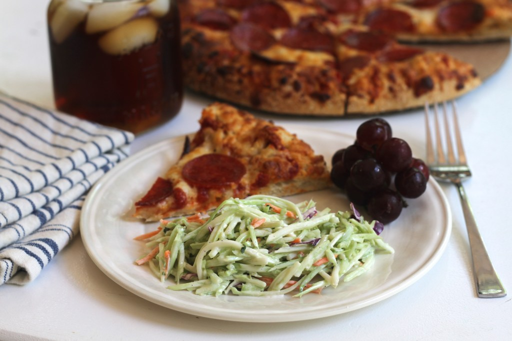 This Quick and Easy Broccoli Slaw is the perfect addition to a family pizza night! {Brittany's Pantry}