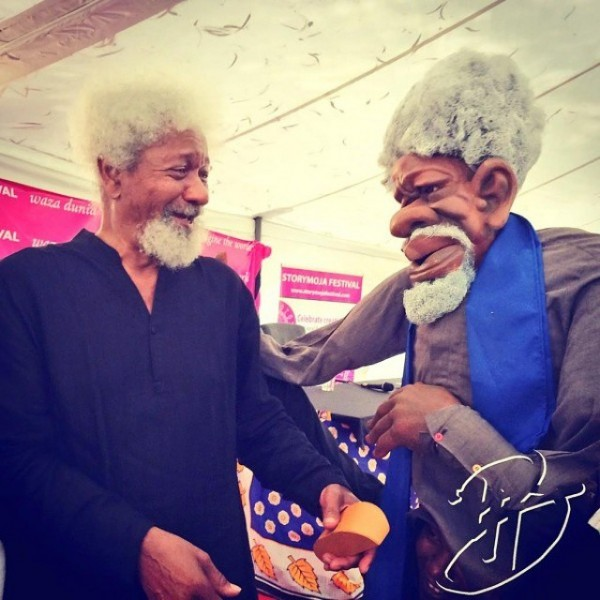 This image of Soyinka meeting his puppet-self made its rounds on Twitter a few weeks ago. Adorable!  (instagram via @brittlepaper)