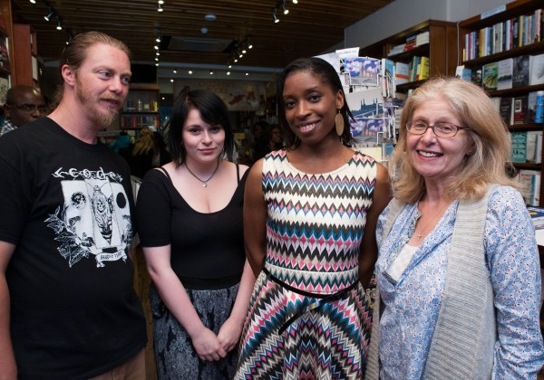Irenosen Okojie with the team from West End Lane Books