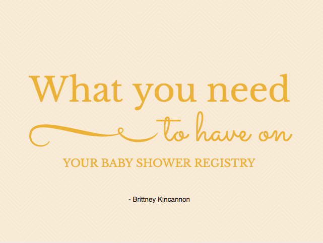 What do I need for my baby registry