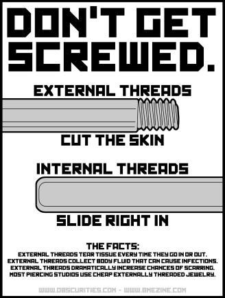 Don't get screwed internal external jewelry