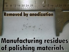 Anodization removes residues from titanium