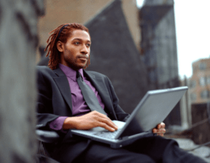 African American Businessman Computer